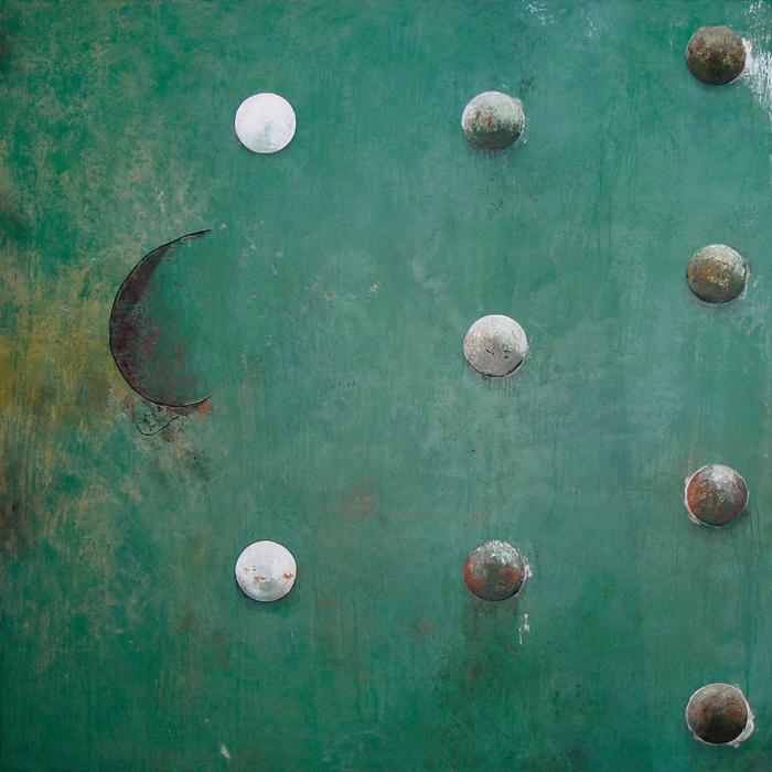 Peinture contemporaine verte avec planètes flottantes et alignées - Tableau