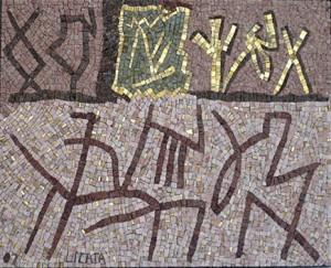 Mosaïque de pierre beige et signes bruns de Riccardo Licata