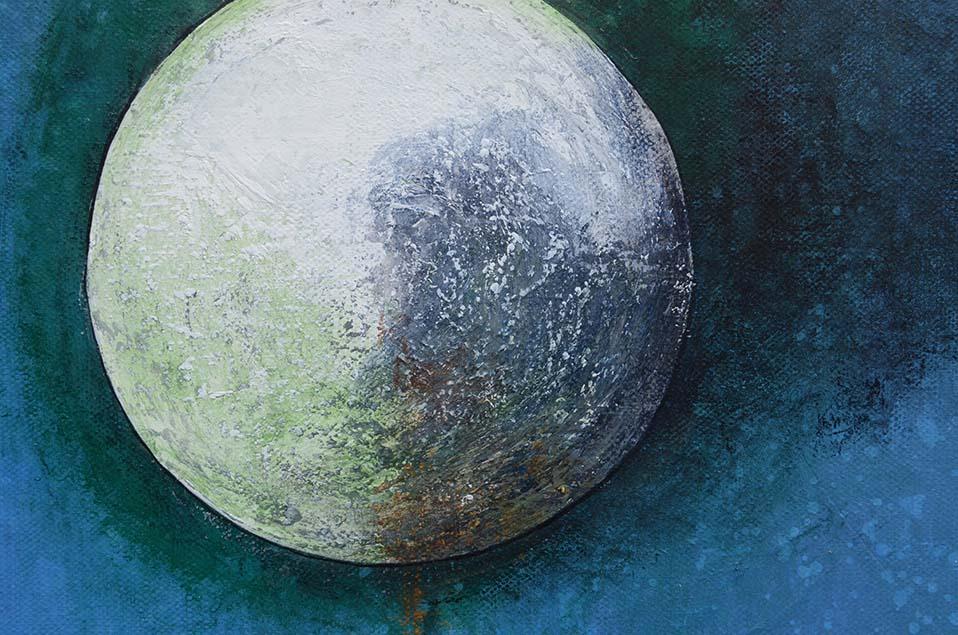 Peinture contemporaine abstraite, Satellite, détail de la toile